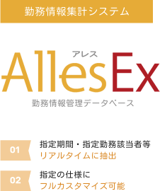 【勤務情報集計システム】アレス AllesEX、(01)指定期間・指定勤務該当者等リアルタイムに抽出、(02)指定の仕様にフルカスタマイズ可能