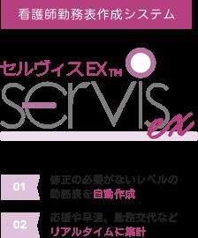 【看護師勤務表作成システム】セルヴィスEX TM SERVIS ex、(01)修正の必要がないレベルの勤務表を自動作成、(02)応援や早退、勤務交代などリアルタイムに集計